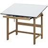 "Alvin Titan Solid Oak Table Oak Finish 31"" x 42"" x 37"""