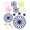 Glossy Embossed Daisy Stickers Blue