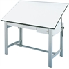 "Alvin DesignMaster Table Gray Base White Top  2 Drawers 37.5"" x 60"""