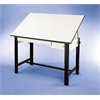 "Alvin DesignMaster Table Black Base White Top 2 Drawers 37.5"" x 72"""