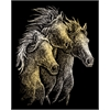 Engraving Art Set Gold Foil Horses