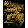 Engraving Art Set Gold Foil Nostalgic Race Cars