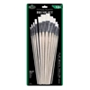 White Taklon Flat Brush Set