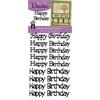 Happy Birthday Greetings Silver Glitter Stickers