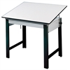 "Alvin DesignMaster Table Black Base White Top 37.5"" x 60"""