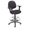 Boss Drafting Stool (B315-Bk) W/Footring And Adjustable Arms