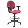 Boss Burgundy Fabric Drafting Stools W/Adj Arms & Footring