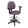 Boss Gray Fabric Drafting Stools W/Adj Arms & Footring