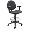 Boss Black Fabric Drafting Stools W/Adj Arms & Footring