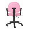 Boss Pink Microfiber Deluxe Posture Chair W/ Loop Arms.