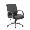 Boss Mid Back Executive Chair / Aluminum Finish / Black Upholstery