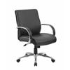 Boss Mid Back Executive Chair / Aluminum Finish / Black Upholstery