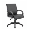 Boss Mid Back Executive Chair / Black Finish / Black Upholstery