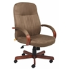 Boss Microfiber Exec. Chair W/ Dark Oak Finish