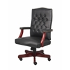 Boss Classic Black Caressoft Chair With Mahogany Finish Frame