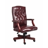 Boss Classic Executive Oxblood Vinyl Chair With Mahogany Finish