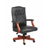 Boss Executive Black Leather Chair With Cherry Finish
