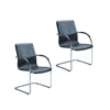 Boss Chrome Frame Black Vinyl Side Chair, 2pcs Per Pack