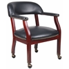 Boss Captain'S Chair In Black Vinyl W/ Casters