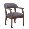 Boss Modern Captain's Chair in Slate Grade Commercial Grade Linen With Casters