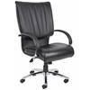 Boss High Back Black LeatherPlus Executive Chair W/ Chrome Base & Arms