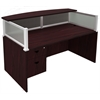 Plexiglass Reception Desk, Mahogany