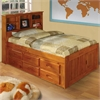 Bookcase Twin Captains Bed with 12 Underbed Drawers in Honey