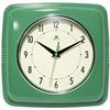 "Infinity Instruments 9"" Square Retro Clock, Green"