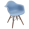 Neo Flair Mid-Century Modern Chairs in Bleu Slate and Espresso   Blue Slate / Espresso, Set of 2