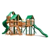 Treasure Trove Swing Set w/ Timber Shield and Sunbrella Canvas Forest Green Canopy