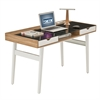 Techni Mobili Compact Computer Desk with Multiple Storage. Color: Walnut