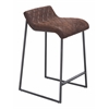 ZuoMod Father Counter Stool Vintage Brown, Set of 2