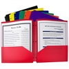 Two-Pocket Heavyweight Poly Portfolio Folder with Three-Hole Punch, Assorted Primary Colors, 1 Folder (Color May Vary) (Set of 18 EA)