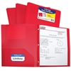 C-Line Two-Pocket Heavyweight Poly Portfolio Folder with Prongs, Red, 1/EA (Set of 12 EA)
