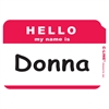 Pressure Sensitive Badges, HELLO my name is, Red, 3 1/2 x 2 1/4, 100/BX (Set of 10 BX)