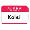 Pressure Sensitive Badges, ALOHA, Red, 3 1/2 x 2 1/4, 100/BX (Set of 10 BX)