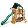 Chateau Tower Swing Set w/ Timber Shield and Sunbrella Canvas Forest Green Canopy