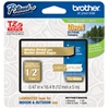 "BROTHER INTL. CORP. TZ Standard Adhesive Laminated Labeling Tape, 1/2"" x 16.4 ft., White/Gold"