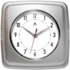 "Infinity Instruments 9"" Square Retro Clock, Silver"
