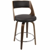 Cecina Fixed Height Mid-Century Modern Counter Stool In Walnut And Brown