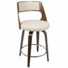 Cecina Fixed Height Modern Contemporary Counter Stool In Walnut And Cream