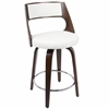 Cecina Fixed Height Mid-Century Modern Counter Stool In Cherry And White