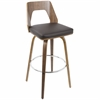 "Trilogy 30"" Fixed Height Mid-Century Modern Barstool In Walnut And Brown"
