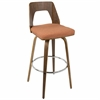 "Trilogy 30"" Fixed Height Mid-Century Modern Barstool In Walnut And Orange"