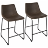 "Duke Industrial 26"" Counter Stool  in Black and Espresso with Orange Stitch -Set of 2"
