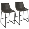 "Duke Industrial 26"" Counter Stool  in Black and Grey with Orange Stitch -Set of 2"