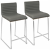 "Mara Contemporary 26"" Counter Stool  in Walnut and Grey -Set of 2"