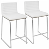 "Mara Contemporary 26"" Counter Stool  in Walnut and White -Set of 2"
