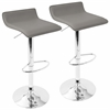 LumiSource Ale Height Adjustable Barstool in Grey with Chrome footrest, Set of 2