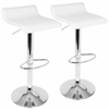 Ale Contemporary Adjustable Barstool in White with Chrome footrest - Set of 2